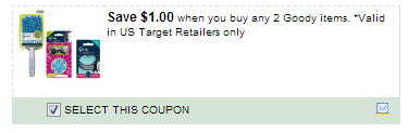 $1.00/2 Goody Items. *valid In Us Target Retailers Only Coupon