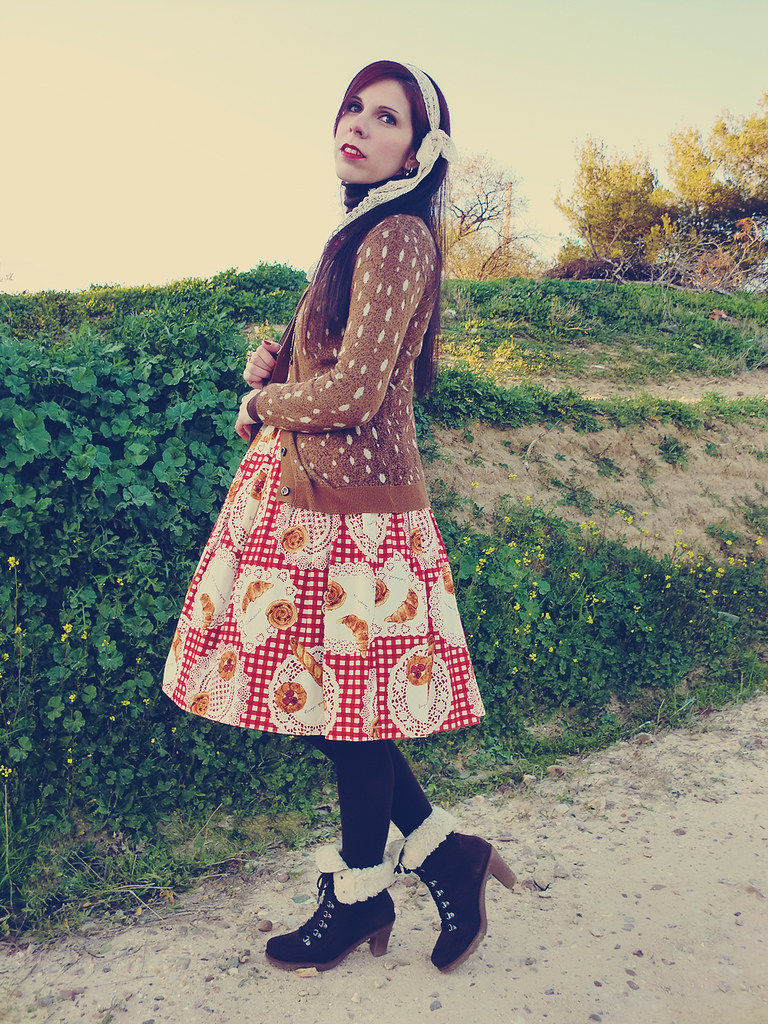 Casual Lolita: Emily Temple cute Bakery print JSK in Red & Syrup Bambi Cardigan