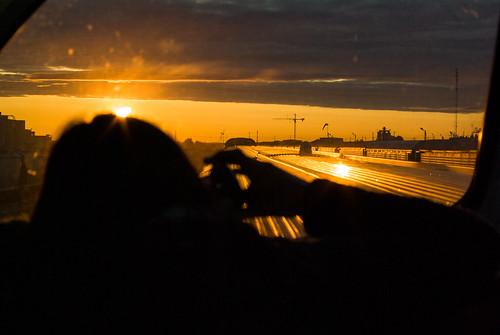 camera windows light sun sunshine silhouette clouds train sunrise rockies photographer cranes cables orangesky rise carriages sunrising yellowsky viewingcar pentaxk10d suncomingup trainroof transcanadarailway