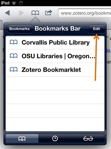 Edit bookmarks