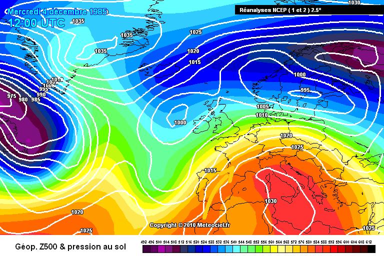 carte de situation du foehn et des records de chaleur du début décembre 1985 météopassion