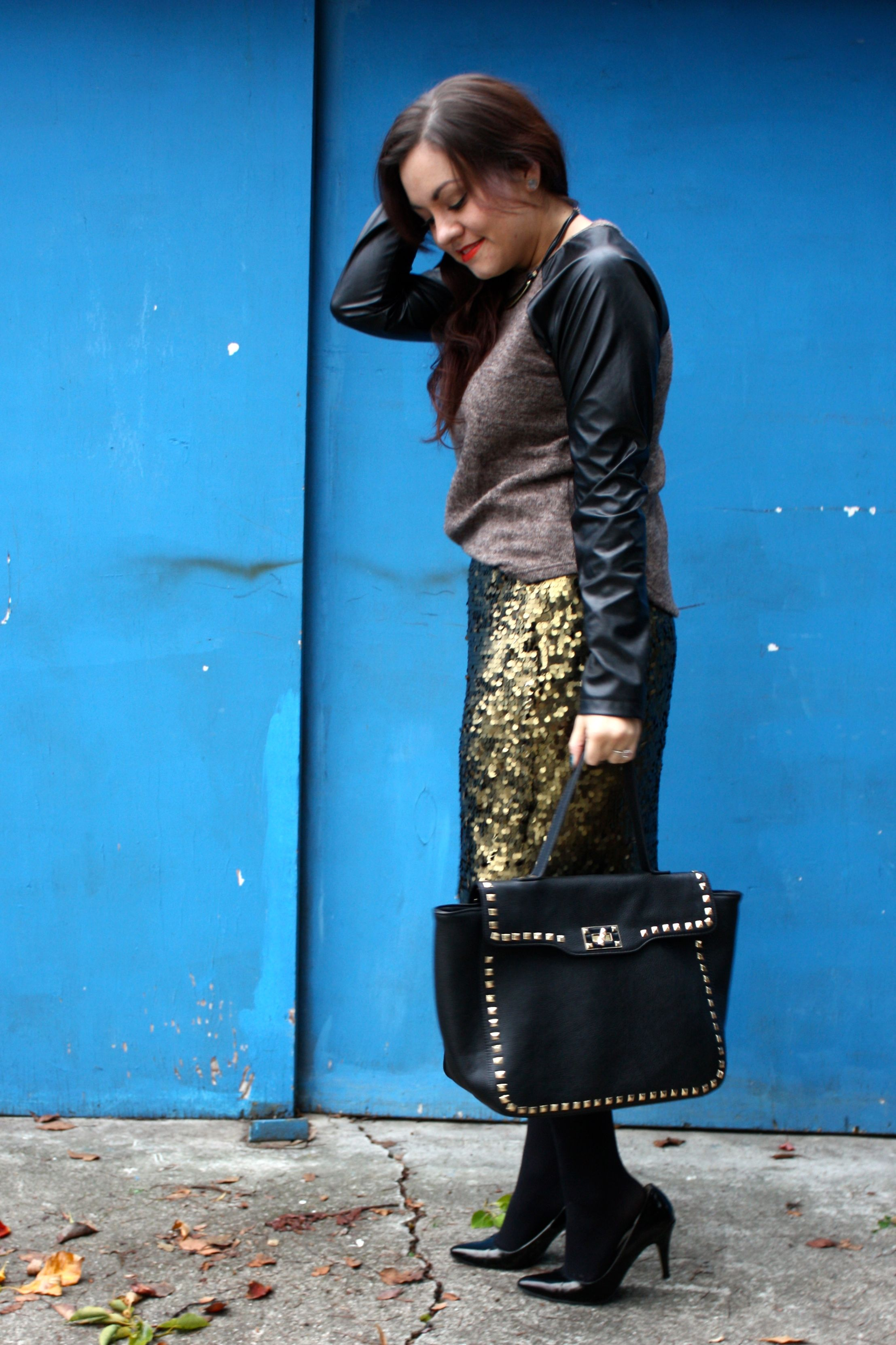sequin pencil skirt - leather sleeve raglan sweater - studded trim tote - tights - ankle boots02