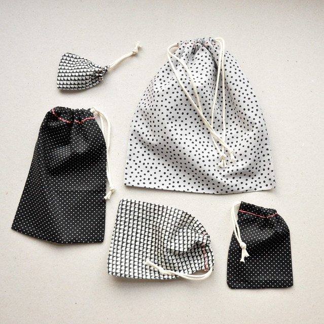 Fabric drawstring gift bags
