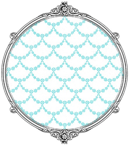 3 turquoise garland BF outline -  free printable paper SAMPLE