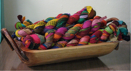 basket of colorful silk-ribbon yarns