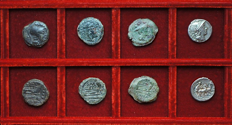 RRC 199 SAR Atilia bronzes, RRC 200 NAT Pinaria denarius, Ahala collection, coins of the Roman Republic