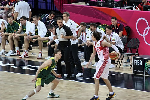 Lithuania vs. Russia in quarter finals of 2012 Olympic Men's Basketball.