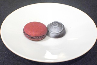 Cassis macaron and chocolate