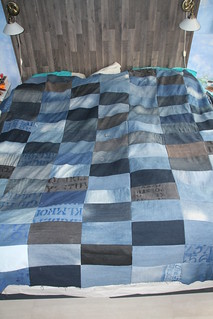Bedspread made of old jeans