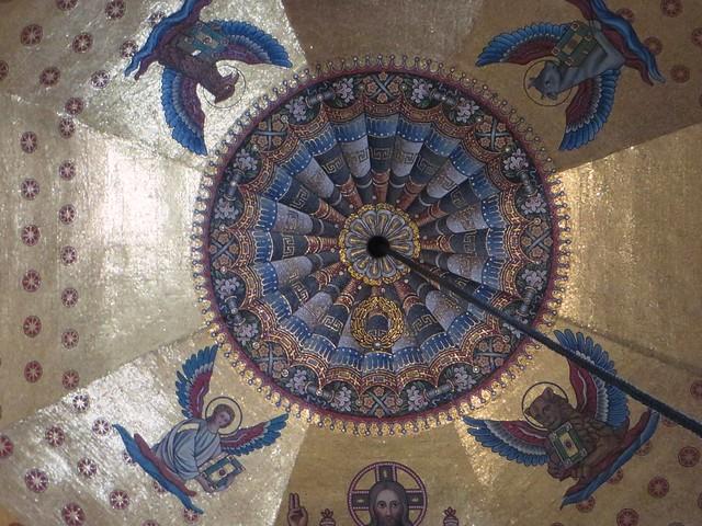 Mosaïque néo-byzantine (XIXe) de la coupole, Chapelle palatine (VIIIe siècle), cathédrale, Aix-la-Chapelle, Rhénanie du Nord-Westphalie, Allemagne.