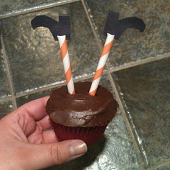 Topsy turvy witch cupcakes