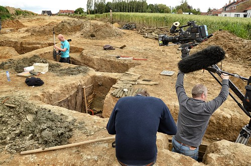 Filming the archaeologists at work, Messines