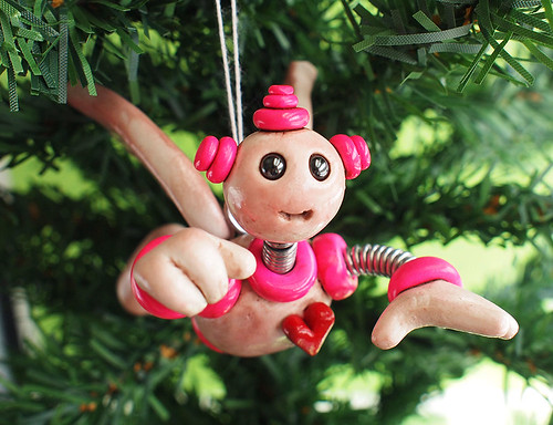 Pink Pax Robot Angel Christmas Ornament by HerArtSheLoves