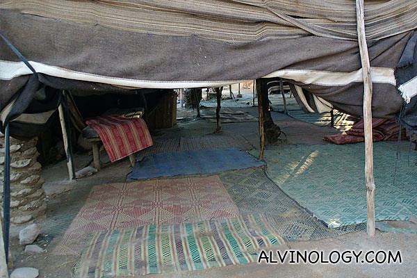 Interior of a colourful Bedouin tent