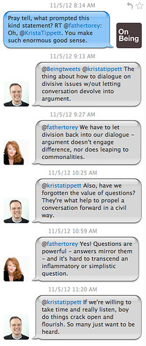 Twitter Conversation between Krista Tippett and Father Torey