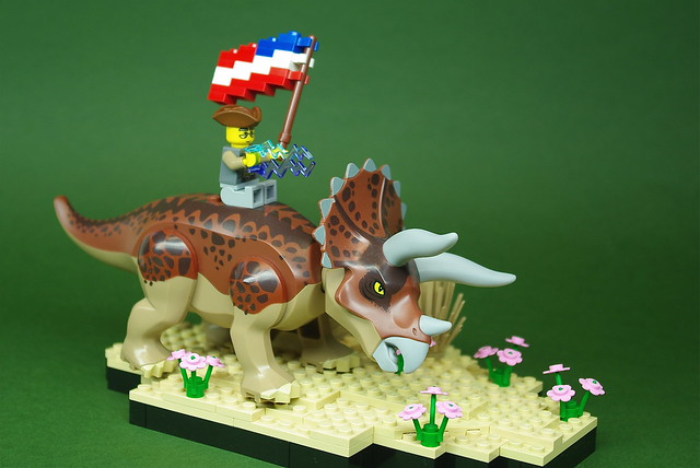 Benjamin Franklin on a Triceratops