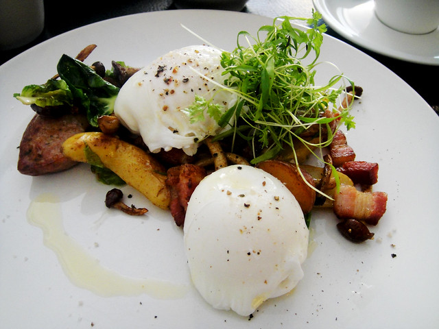 Poached Eggs with Sausage and Bacon