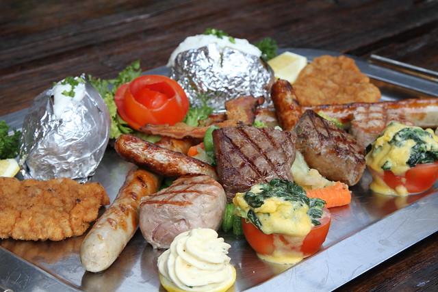 , Nuremberg sausage, pork medallions and veal escalope, Mediterranean ...