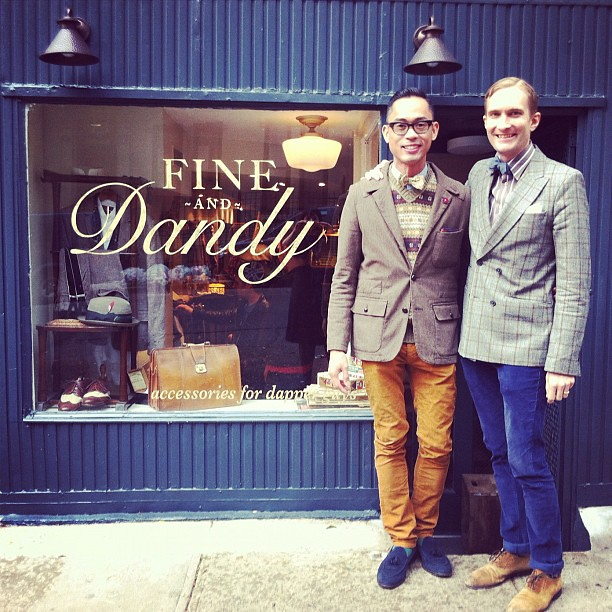 Congrats @fineanddandyshop The shop looks amazing! Enrique & Matt in front of 445 W49th btw 9-10 #menswear cc@finendandyshop