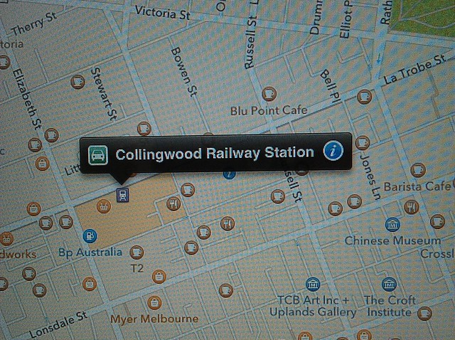 Apple Maps: Collingwood Railway Station is at Melbourne Central, and there's a petrol station in Elizabeth St