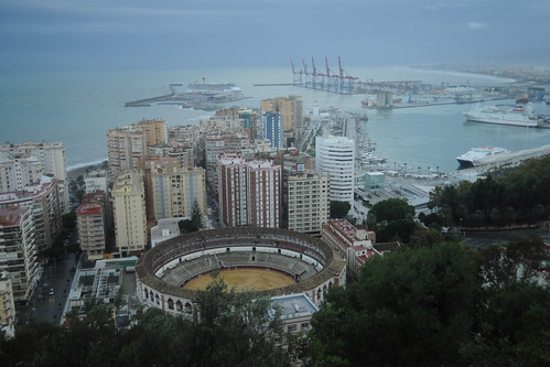 Malagueta bullring and port from Gibralfaro Parador