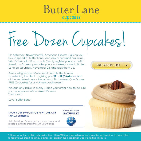 amex free butter lane cupcakes