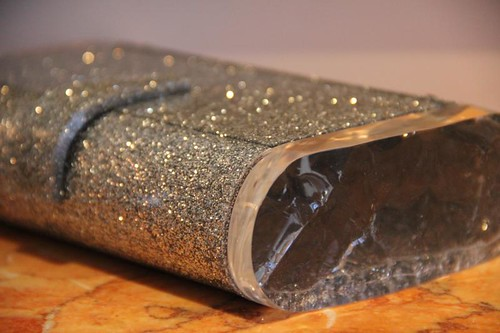 Edie Parker silver glitter acrylic purse handbag