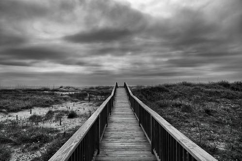white black beach clouds northcarolina oakisland
