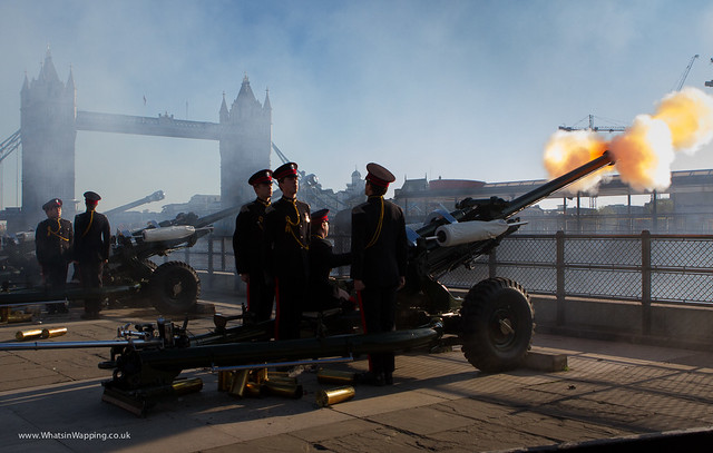 Gun salute at the Tower of London
