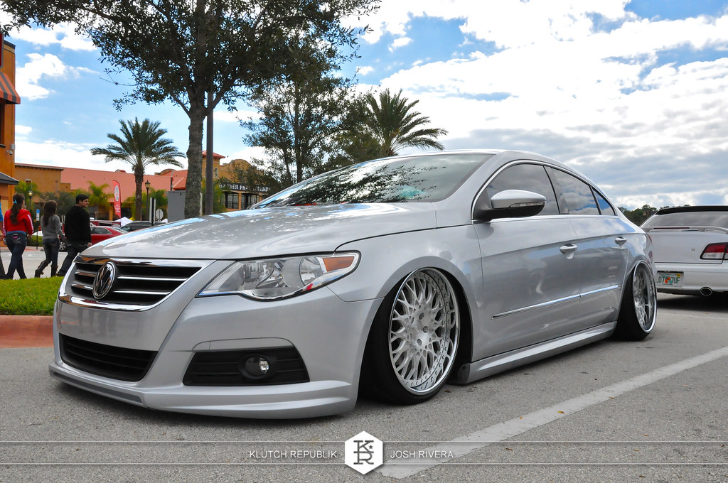 silver vw cc VIP modular shot at simple clean 4 in florida 3pc wheels static airride low slammed coilovers stance stanced hellaflush poke tuck negative postive camber fitment fitted tire stretch laid out hard parked seen on klutch republik