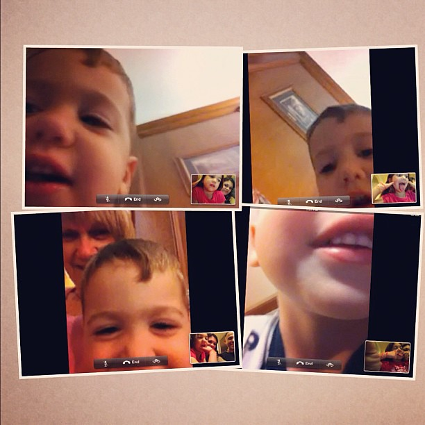 FaceTime with our favorite little man at his slumber party with Geddo & Teta!!