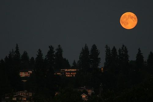 Full moon from Edmonds Pier - September 2011