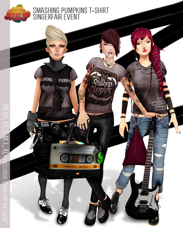 SINGERFAIR EVENT!!! *Tea Time* SMASHING PUMPKINS T-SHIRT-ONLY GIRLS-3 STYLES- MESH