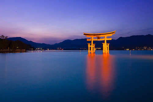 japan night view 日本 夜景 神社 鳥居 ff 廣島 嚴島神社 大鳥居 世界遺產 嚴島 5d3