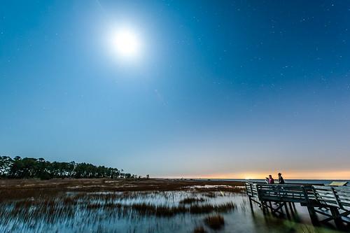sky moon water night dark stars pier photographers marsh wetland chesapeakebay