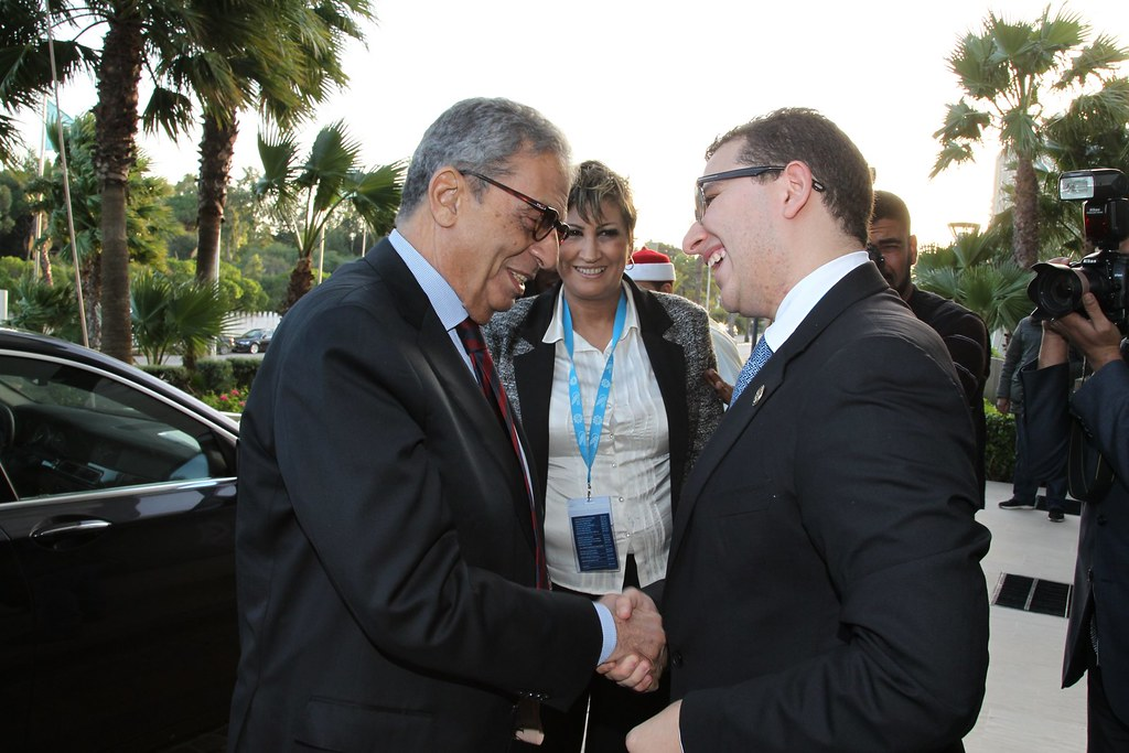 medays 2012   brahim fassi fihri welcoming amr moussa