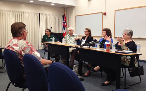 <p>At the UH community forum at Honolulu Community College are, from left, Board of Regents members James Lee and Chuck Gee, Honolulu Comunnity College Chancellor Erika Lacro, UH Executive VP for Academic Affairs Linda Johnsrud and UH President M.R.C. Greenwood.</p>