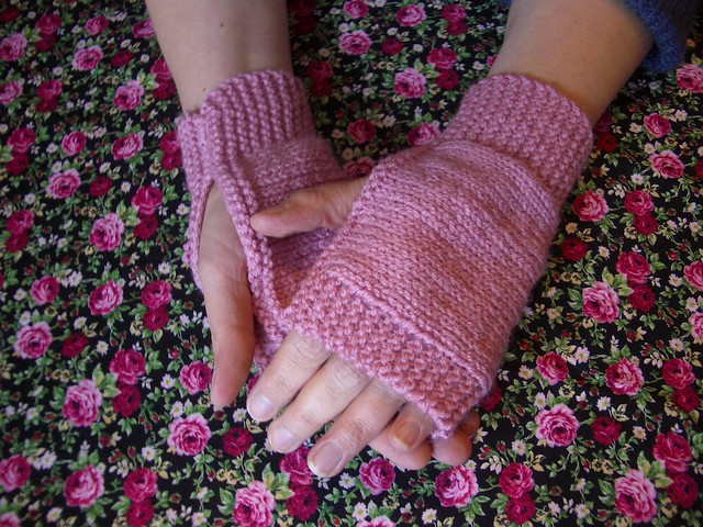 Pink Knitted Fingerless Mitts