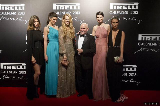 The launch of the Pirelli 2013 Calendar in Rio de Janeiro, Brazil. L to R: Elisa, Summer Rayne, Petra, Steve, Hanaa and Kyleigh.