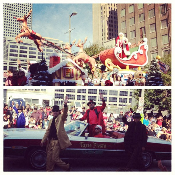 The Houston parade ends with the arrival of Santa Claus followed by Pancho Claus and the low riders.  I think it's a Texas thing.