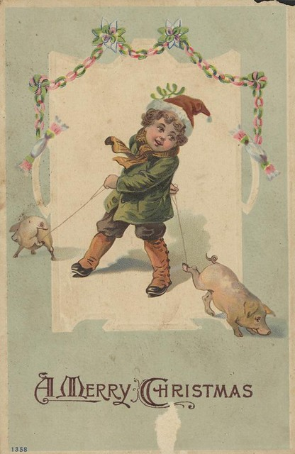 Christmas greeting card featuring small child with two pigs