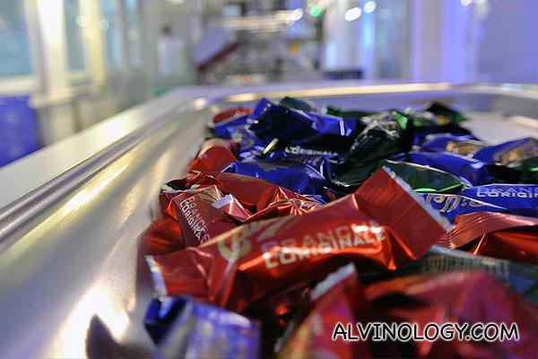 Chocolate fresh off the conveyor belt