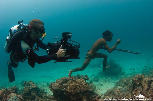 Bajau spearfisherman & cameraman - Mabul Island, Sabah