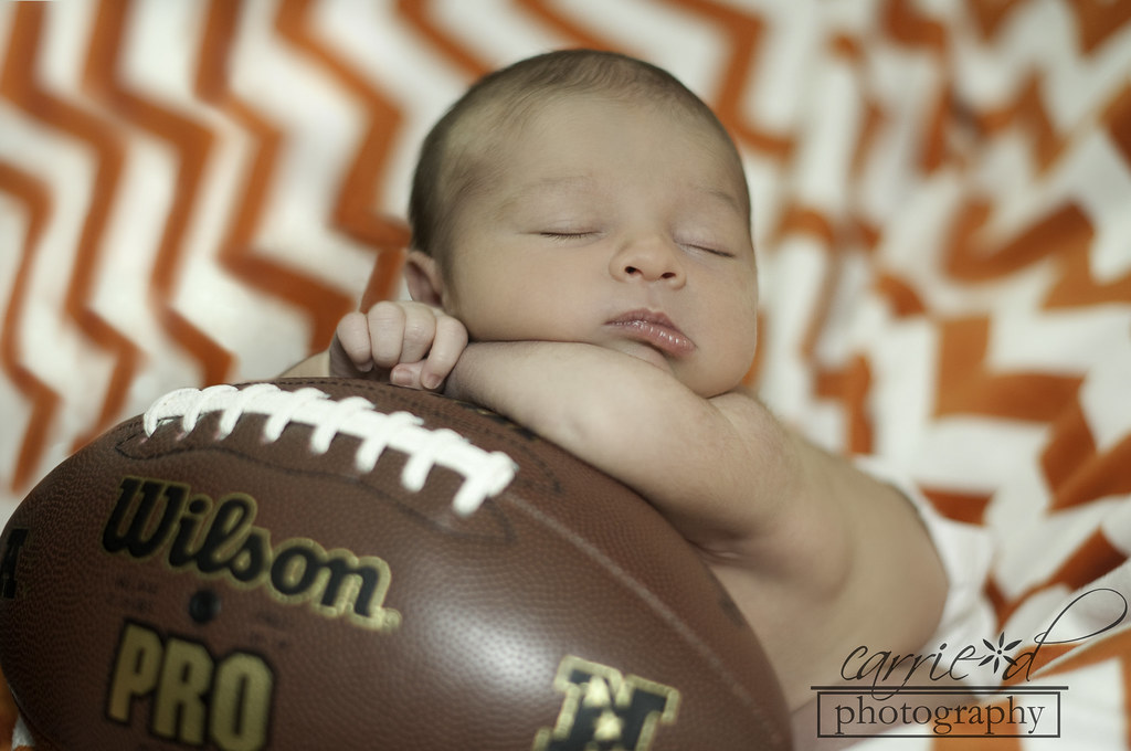 Baltimore Newborn Photographer - Baltimore Photographer - Baltimore Family Photographer - Newborn Photography - Pumpkin Newborn Hat - Christmas Newborn Hat - Newborn Photo with Football - Ian 11-19-2012 (1 of 1)