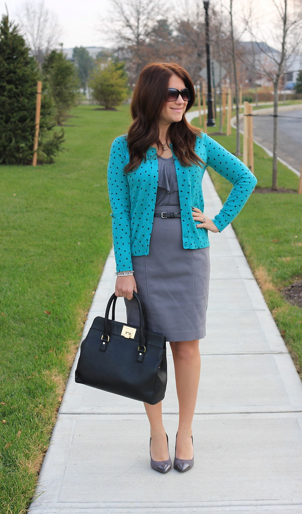 Gray and Teal Hearts Business Casual Outfit