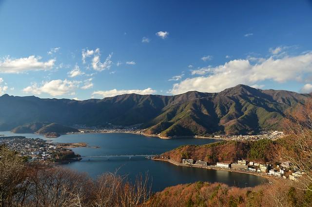 Panorama view of Lake Kawaguchiko, Fuji Five Lake, Japan