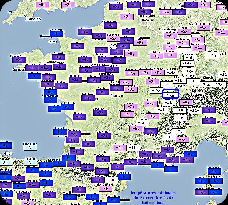 températures minimales glaciales et record mensuel de froid à Mouthe le 9 décembre 1967 météopassion