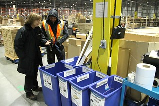 Recycling is pervasive in the Walmart distribution centre