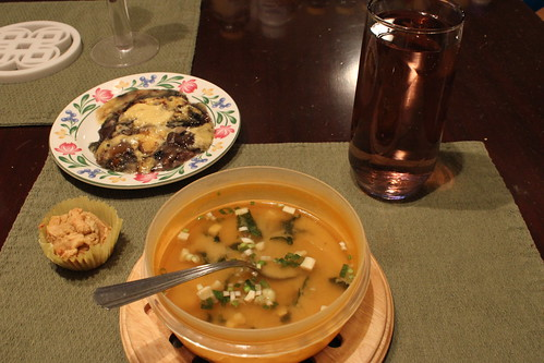 6:12 PM: Most of my supper: Miso soup, cornbread, cobbler