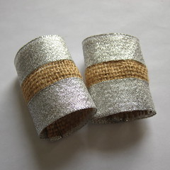Burlap and Ribbon Napkin Rings